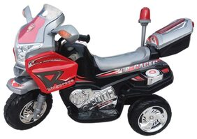 Oh Baby, Baby Battery Operated And Police Bike Black Color With Musical Sound And Back Basket For Your Kids SE-BOB-09