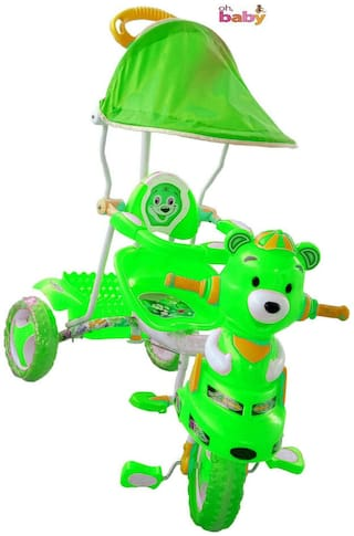 Oh Baby, Baby pooh shape Musical With Tubeless Tyre 2 In 1 Function green Color Tricycle For Your Kids SE-TC-52