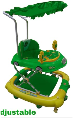 Oh Baby, Baby Car Shape Adjustable Walker, 9 in 1 Function With Musical Light Green Color Walker For Your Kids SE-W-100