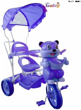 Oh Baby, Baby fun bear look Musical With Tubeless Tyre 2 In 1 Function pink Color Tricycle For Your Kids SE-TC-49