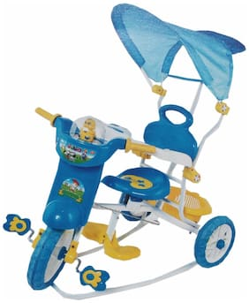 Oh Baby Baby Police Bike Musical With Tubeless Tyre 3 In 1 Function Blue Color Tricycle For Your Kids SE-TC-33