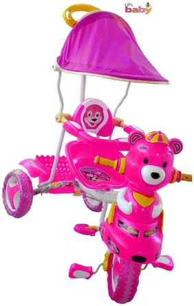 Oh Baby, Baby  pooh shape Musical With Tubeless Tyre 2 In 1 Function pink Color Tricycle For Your Kids SE-TC-51