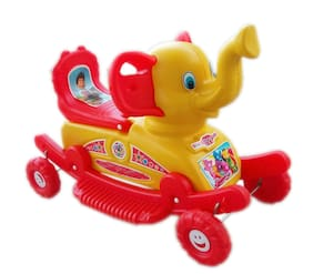 Oh Baby'' Baby Plastic Elephant With Rocking Function And Running Rideo On With Amazing Color For Your Kids First Class Rocking Plastic Elephant With 4 Wheels For Cycle The Musical Elephant.
