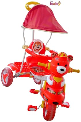 Oh Baby, Baby  pooh shape Musical With Tubeless Tyre 2 In 1 Function red Color Tricycle For Your Kids SE-TC-50