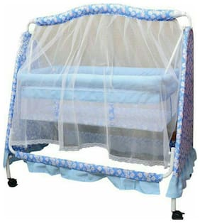 Oh Baby Baby HEAVY Pipe 4 wheel Bassinets And Cradles (jhulla and palna) With UMBREALLA Mosquito Net SE-JP-41