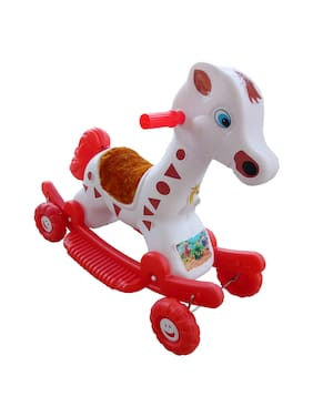 Oh Baby'' Baby Plastic Horse With Rocking Function And Running Ride On With Amazing Color For Your Kids First Class Rocking Plastic Horse With 4 Wheels For Cycle The Horse.