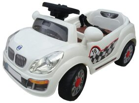 Oh Baby, Baby Battery Operated Car White Color With Remote Control And Mobile Music Connectivity For Your Kids SE-BOC-13