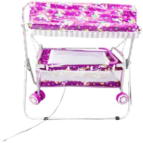Oh Baby Baby Pink Steel Pipe Bassinets And Cradles(Jhulla Baggi And Palna Baggi) With Mosquito Net For Your Kids SE-JP-28
