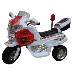 Oh Baby, Baby Battery Operated And Police Bike White Color  With Musical Sound And Back Basket For Your Kids SE-BOB-08