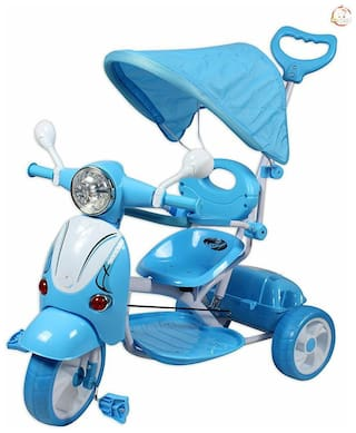oh baby Baybee Vespa Trolly Cycle with Canopy and Parent Control (blue) SE-TC-70
