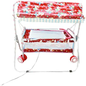 Oh Baby Care Branded Best On Super Quality Stell Pipe Hood (Canopy) Cradles And Bassinet (Jhulla And Palna);Crib Cum Stroller;With Mosquito Net With Running Baggi 4 Wheels For Your Kids