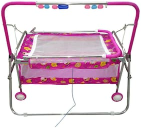 Oh Baby Care Branded Best On Super Quality Stell Pipe Cradles And Bassinet (Jhulla And Palna);Crib Cum Stroller;With Mosquito Net With Running Baggi 4 Wheels For Your Kids