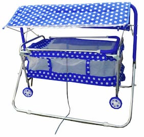 Oh Baby Coshmo Baby Branded Best On Super Quality Stell Pipe Hood (Canopy) Cradles And Bassinet (Jhulla And Palna);Crib Cum Stroller;With Mosquito Net With Running Baggi 4 Wheels For Your Kids
