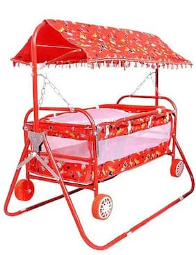 Oh Baby Coshmo Baby Branded Multicolor Best On Super Quality Sada Hood (Canopy) Cradles And Bassinet (Jhulla And Palna);Crib Cum Stroller;With Mosquito Net With Running Baggi 4 Wheels For Your Kids