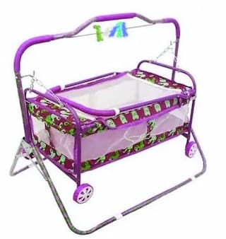 Oh Baby Coshmo Baby Branded Best On Super Quality Cradles And Bassinet (Jhulla And Palna);Crib Cum Stroller;With Mosquito Net With Running Baggi 4 Wheels For Your Kids