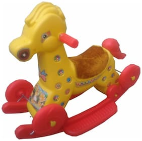 Oh Baby Multi color Rocking Plastic Giraffe With Wheel SE-RT-09