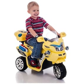 Oh Baby Noby Bike With Musical Sound And Back Basket 3-Wheel Battery Operated Ride On Bike With Music;Horn;Headlights With 25 Kg Weight Capacity For Your Kids