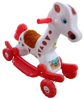 Oh BabyMulticolor Rocking Plastic Giraffe With Wheel SE-RT-29