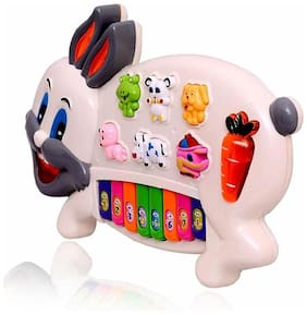 Oh Baby Baby Musical Rabbit Piano With Flashing Light Toy Gift For Kids (Multicolor) for your kids SE-ET-148