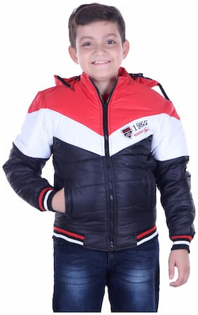 OH YES Boy Nylon Solid Winter jacket - Black