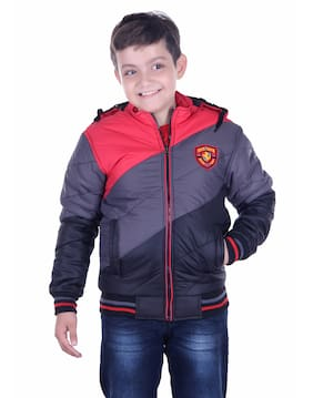 OH YES Boy Nylon Solid Winter jacket - Red