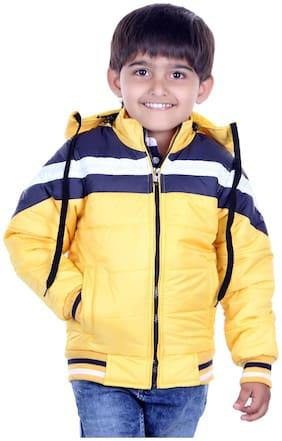 OH YES Boy Nylon Solid Winter jacket - Black
