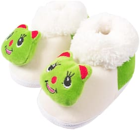 Ole Baby White & Green Booties For Infants