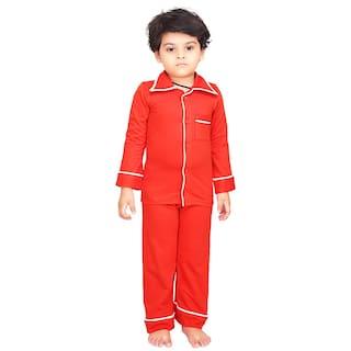 ae759ecea2 Buy Olele Boy Cotton Solid Top   Pyjama Set - Red Online at Low ...