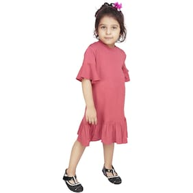 5ffa199db4 Olele Girls Coral Knit Frill Dress   baby girls latest dresses cotton  dresses for baby