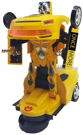 ONCEMORE Compatible by New Compatible Automatic Convert / Transformer Toy Racing Car to Robot for Kids(Yellow) Assorted