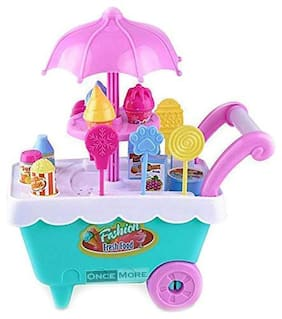ONCEMORE Compatible Ice Cream Play Cart Kitchen Set Toy with Lights and Music Assorted