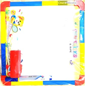 ONCEMORE Compatible Genius Mini Melamine (Non-Magnetic) Whiteboard for Kids and Home (GWB3045);Lightweight Aluminium Frame;1x1.5 Feet (Pack of 1)