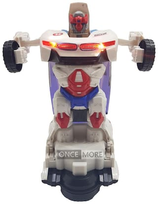 ONCEMORE Compatible by New Compatible Automatic Convert / Transformer Toy Racing Car to Robot for Kids(White) Assorted
