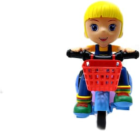 ONCEMORE Compatible Stunt Tricycle Bump and Go Toy with 4D Lights;Dancing Toy;Battery Operated Toy - Multi Color Assorted