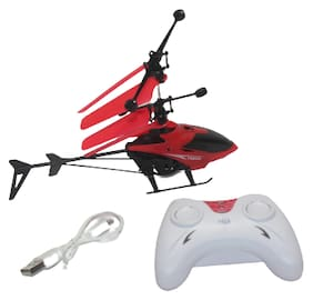 ONCEMORE Premium Super Alloy Velocity Remote Control Mini Helicopter with Rechargeable Batteries Helicopter Red