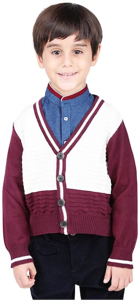 One Friday Boy Cotton Colorblocked Sweater - Maroon