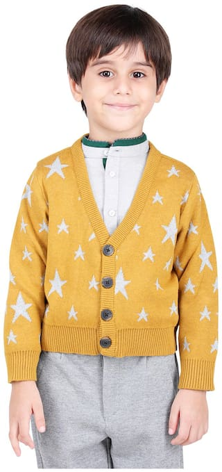 One Friday Boy Cotton Printed Sweater - Yellow