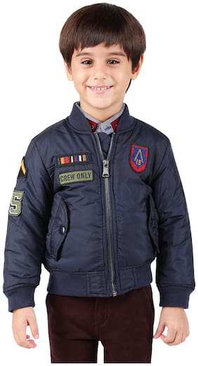 One Friday Boy Polyester Solid Winter jacket - Blue
