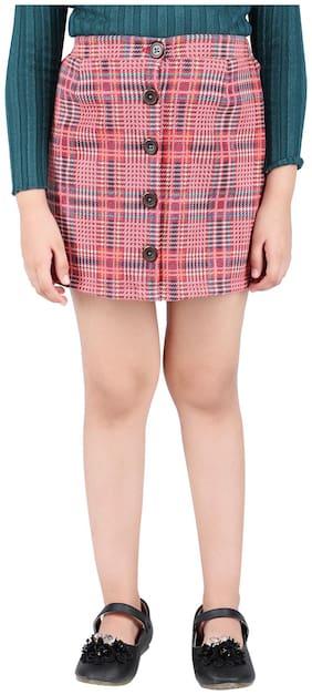 One Friday Girl Polyester Checked Straight skirt - White