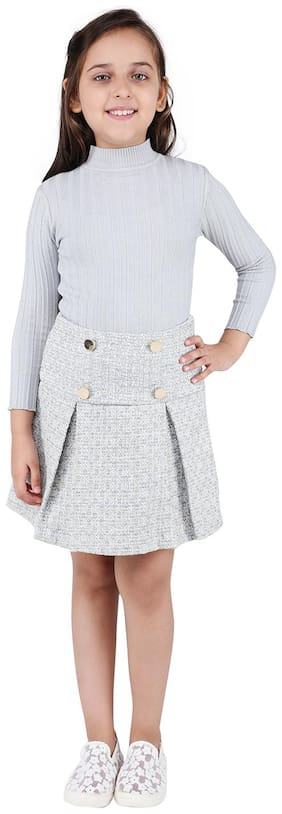 One Friday Girl Cotton Striped A- line skirt - White