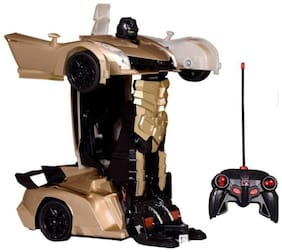 One Key Deformation Remote Control Super Power Action Hero Transform from Car to Robot-Gold