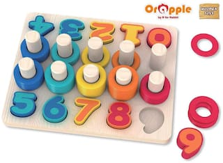Orapple Toys by R for RabbitCount N Stack Wooden Stacking Rings Toys for Baby/KidsLearning & Educational Toys for Boys & Girls of 1.5;2;3;4 Yrs old age (Multicolor)