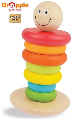 Orapple Toys by R for Rabbit Rainbow Rocking StackerWooden Stacking Rings Toys for Baby/Kids Learning or Educational Toys for Boys & Girls of 1;2;3;4 years old age(Multicolor)
