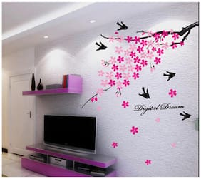 Oren Empower Moment Of Fun With Flying Birds Wall Sticker With Beautiful Flowers