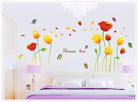 Oren Empower Beautiful Love Flower With Butterflies Wall Sticker