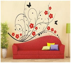 Oren Empower Red Flowers with Black Wine Wall Decals