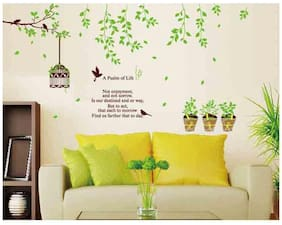Oren Empower Birdcage with Green Decorative Branch Large Wall Sticker