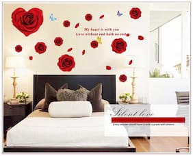Oren Empower Red rose wall sticker for home decoration