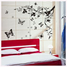 Oren Empower Black Flower With Flying Butterfly Decorative Wall Sticker