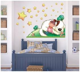 Oren Empower Girl under the stars cartoon wall sticker